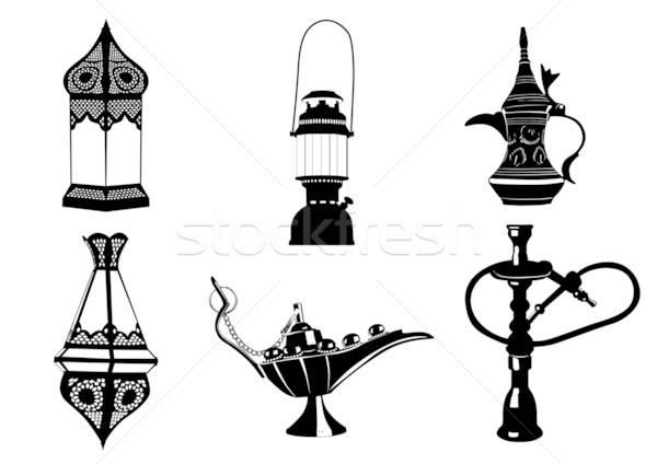 Közel-keleti vektor ikon illusztrációk lámpák kávé Stock fotó © Akhilesh