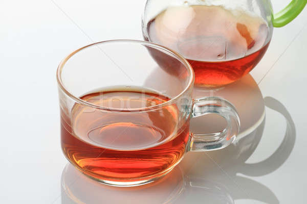 Tea Cup and Kettle on white reflective background Stock photo © Akhilesh