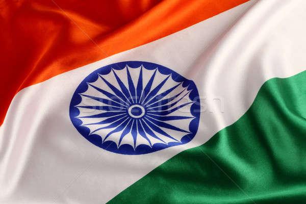Driekleur indian vlag oranje teken Stockfoto © Akhilesh