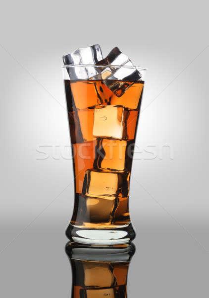 Hideg ital kóla üdítő üdítőital üveg jégkockák Stock fotó © Akhilesh