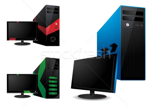 Computer and lcd monitor - vector illustration Stock photo © Akhilesh