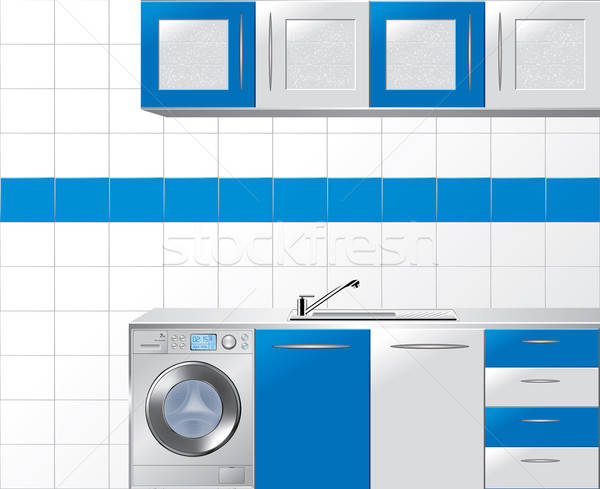 Modular Kitchen in Blue and Silver - Vector Illustration Stock photo © Akhilesh