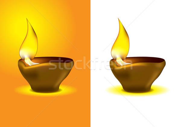 ストックフォト: ディワリ · 石油ランプ · お祝い · 火災 · オレンジ · 油