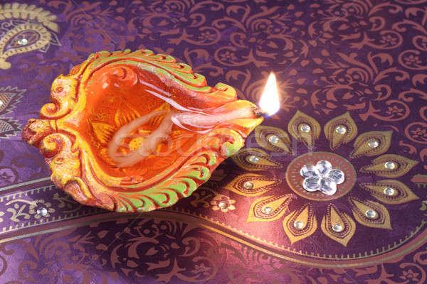 Wykonany ręcznie diwali glina lampy kwiatowy kultu Zdjęcia stock © Akhilesh