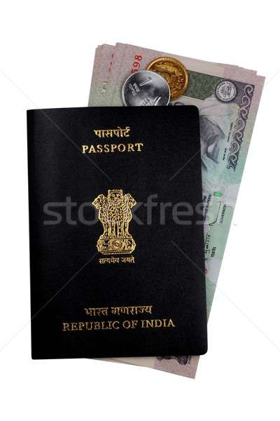 Indian Currency Rupee Notes, Coins and Passport Stock photo © Akhilesh