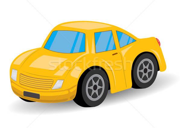 Citromsárga sportautó rajz jókedv autógumi vezetés Stock fotó © Akhilesh