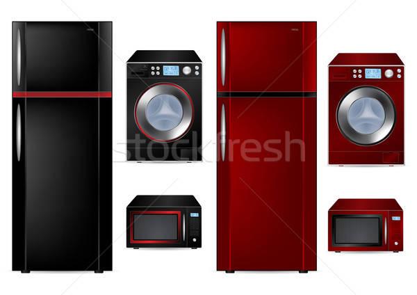 Geladeira máquina de lavar roupa microonda vetor ilustrações porta Foto stock © Akhilesh