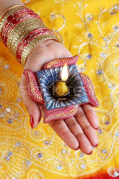 Indian festival diwali lampada femminile mano Foto d'archivio © Akhilesh
