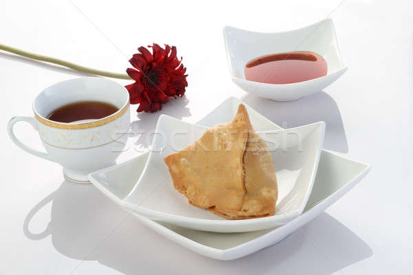 Indian Food Samosa with Tea and Chutney Stock photo © Akhilesh