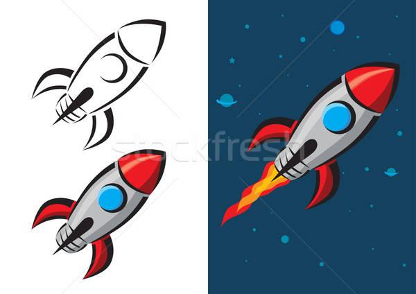 Fusée style rétro feu navire rétro planète Photo stock © Akhilesh