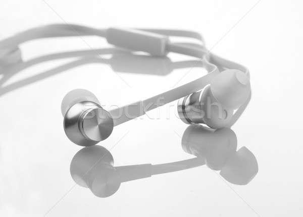 Biały kolor słuchawki szczegół Zdjęcia stock © Akhilesh