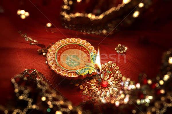 Diwali Celebration Diya Lamp India - Bokeh Blurred Background Stock photo © Akhilesh