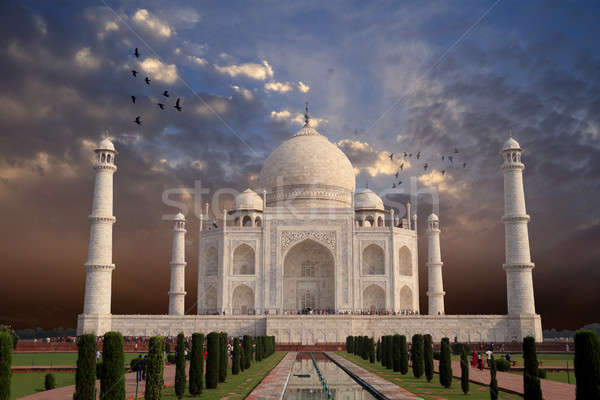 Photo stock: Belle · Taj · Mahal · architecture · Inde · construction · coucher · du · soleil