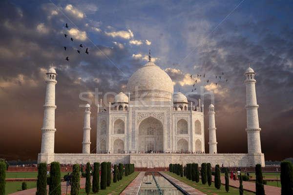 Gyönyörű Taj Mahal építészet India építkezés naplemente Stock fotó © Akhilesh