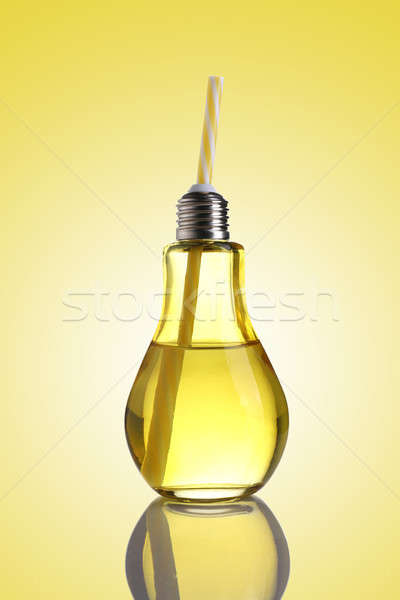 Yellow colored Bulb Shaped Drinking Glass with Straw Stock photo © Akhilesh