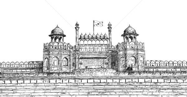 Red Fort, New Delhi, India - Detailed Vector Sketch Illustration Stock photo © Akhilesh