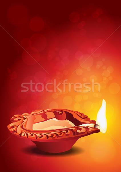 Indian festiwalu diwali glina lampy świetle Zdjęcia stock © Akhilesh