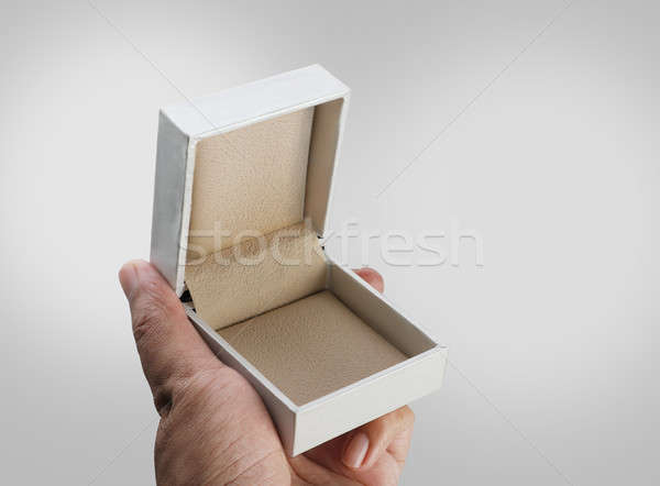 Empty Open White Jewelry Ring Box in a Hand Stock photo © Akhilesh