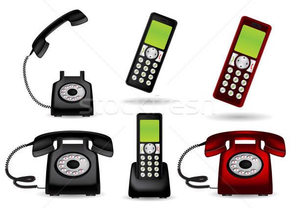 ストックフォト: レトロな · 電話 · コードレス · 赤 · 通信 · ヴィンテージ