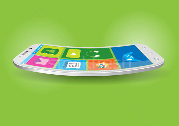 Modern Touchscreen Curved Mobile Vector Illustration Stock photo © Akhilesh