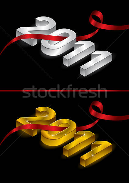 2011 happy new year ruban or argent vecteur Photo stock © Akhilesh