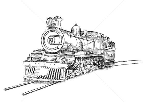 Retro stream locomotief trein spoorweg motor Stockfoto © Akhilesh