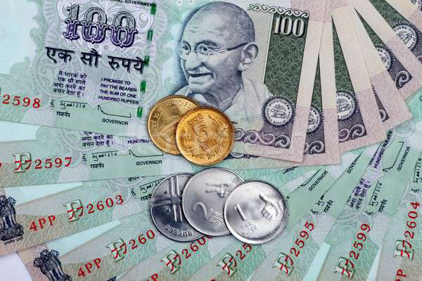 Indian Currency Rupee Notes and Coins Stock photo © Akhilesh