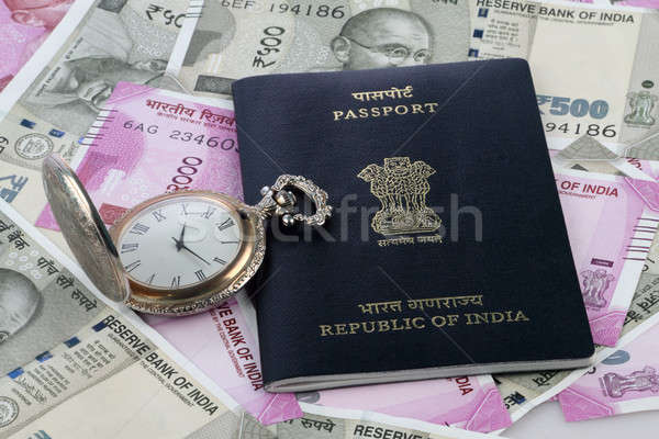ストックフォト: インド · パスポート · 新しい · 通貨 · アンティーク · 時計