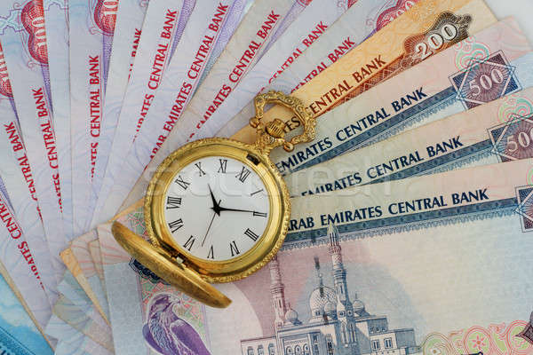 UAE Dirhams with Golden Antique Watch Stock photo © Akhilesh