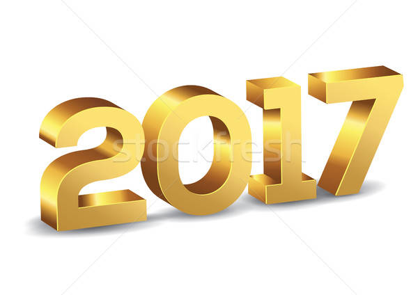 3D Happy New Year 2017 Gold Vector Numbers Stock photo © Akhilesh