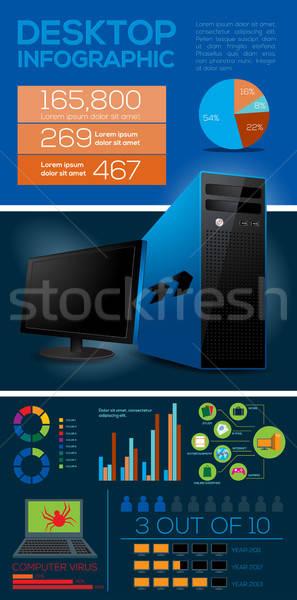 Asztali számítógép infografika elemek felirat monitor képernyő Stock fotó © Akhilesh