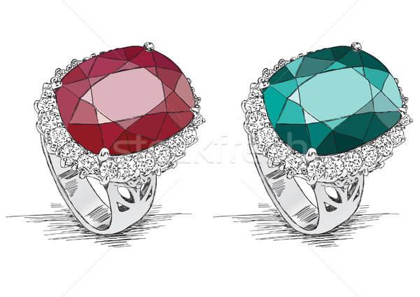 Pierścionek z brylantem biżuteria ilustracja gryzmolić wektora diament Zdjęcia stock © Akhilesh