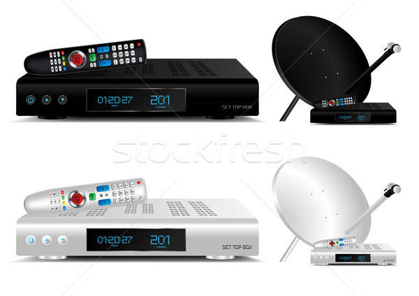 Set top box and dish antenna vector illustration Stock photo © Akhilesh