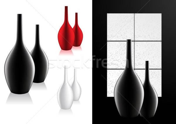 Stock fotó: Lakberendezés · modern · váza · ablak · fekete · belső