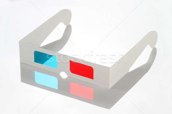 Rosso blu carta occhiali 3d riflessione Foto d'archivio © Akhilesh