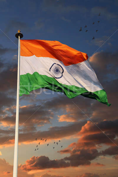 Tricolor Indian Flag with Beautiful Sky in Background Stock photo © Akhilesh