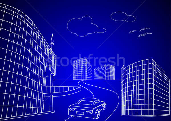 3d wireframe Blue print of a city Stock photo © Akhilesh