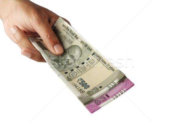 új indiai valuta jegyzet kéz izolált Stock fotó © Akhilesh
