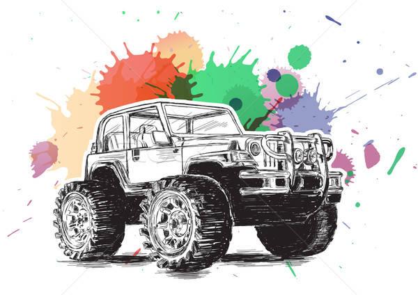 4x4 Sports Utility Vehicle SUV Grunge Vector Illustration Stock photo © Akhilesh