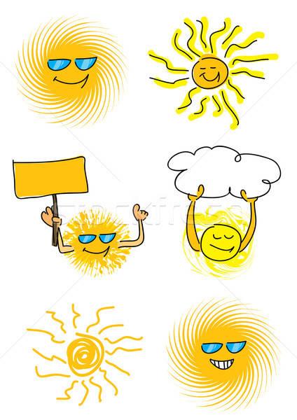 set of 6 sun vector illustrations Stock photo © Akhilesh