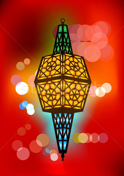 Intricate arabic lamp with beautiful lights Stock photo © Akhilesh