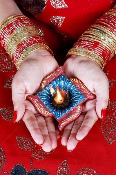 ストックフォト: インド · 祭り · ディワリ · ランプ · 女性 · 手