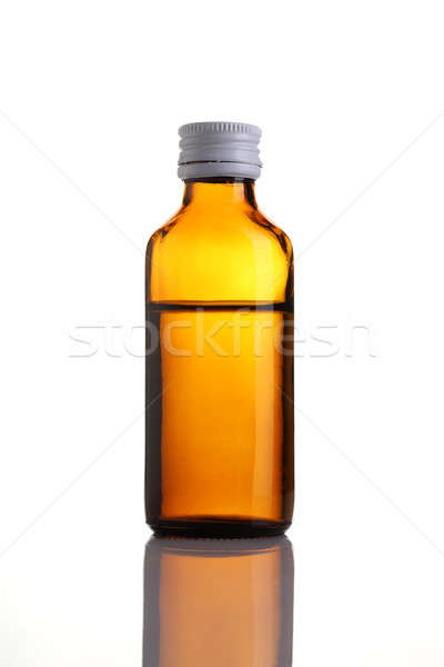 Brown Glass Bottle of Medicine Syrup isolated on white Stock photo © Akhilesh