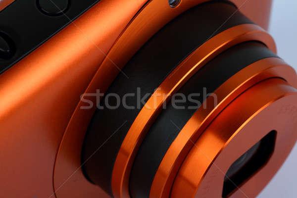 Stock fotó: Kompakt · digitális · fényképezőgép · lencse · közelkép · technológia · stúdió