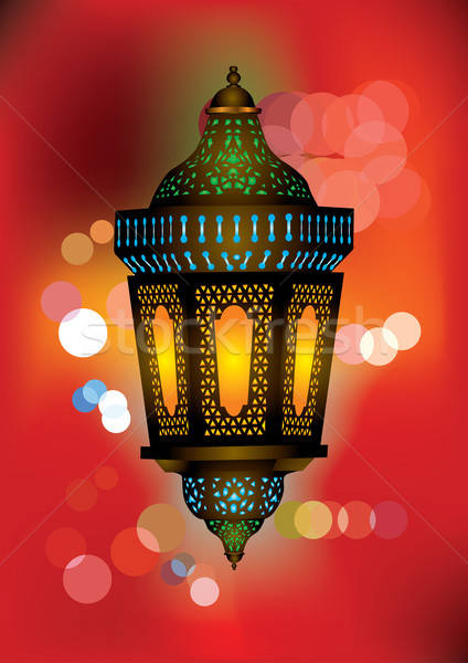 Intricate arabic lamp with beautiful lights in the background Stock photo © Akhilesh