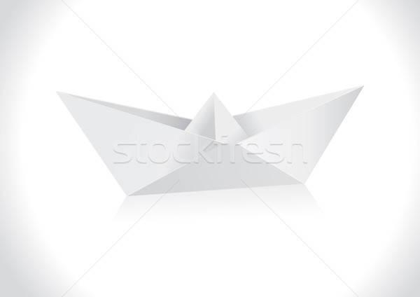 ストックフォト: 折り紙 · 紙 · ボート · 芸術 · 旅行 · 船