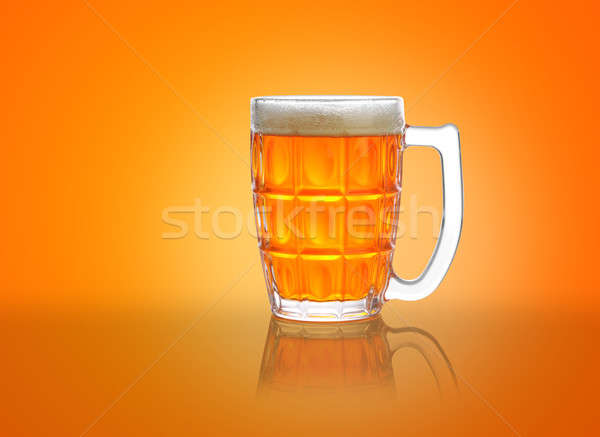Beer Mug / Glass with froth with reflection Stock photo © Akhilesh