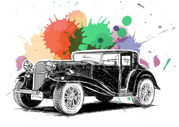 Klasszikus retro klasszikus régi autó színes tinta Stock fotó © Akhilesh