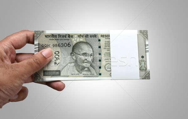 Indiai valuta 500 bank jegyzet kéz Stock fotó © Akhilesh