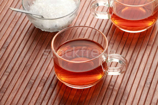 Tea Cup and Sugar in wooden background Stock photo © Akhilesh